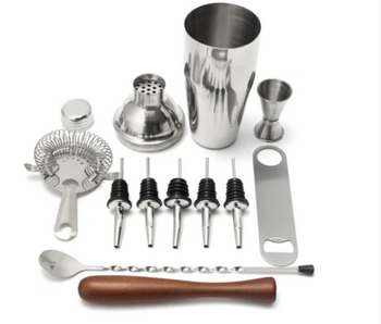 Cocktail Shaker 11 Piece Stainless Steel Essential Bartender Kit