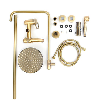 Rainfall Brass Bathroom Shower Head Hand Shower Tub Mixer Tap Faucet