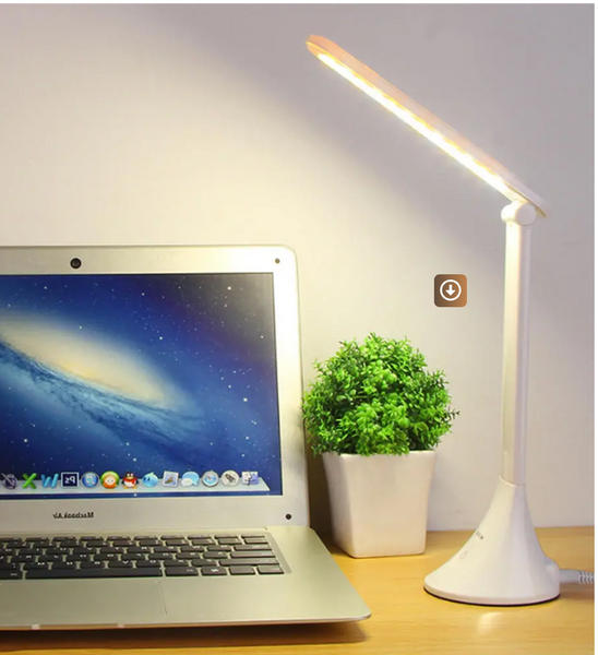 Touch table lamp with a laptop showing size and keyboard illumination