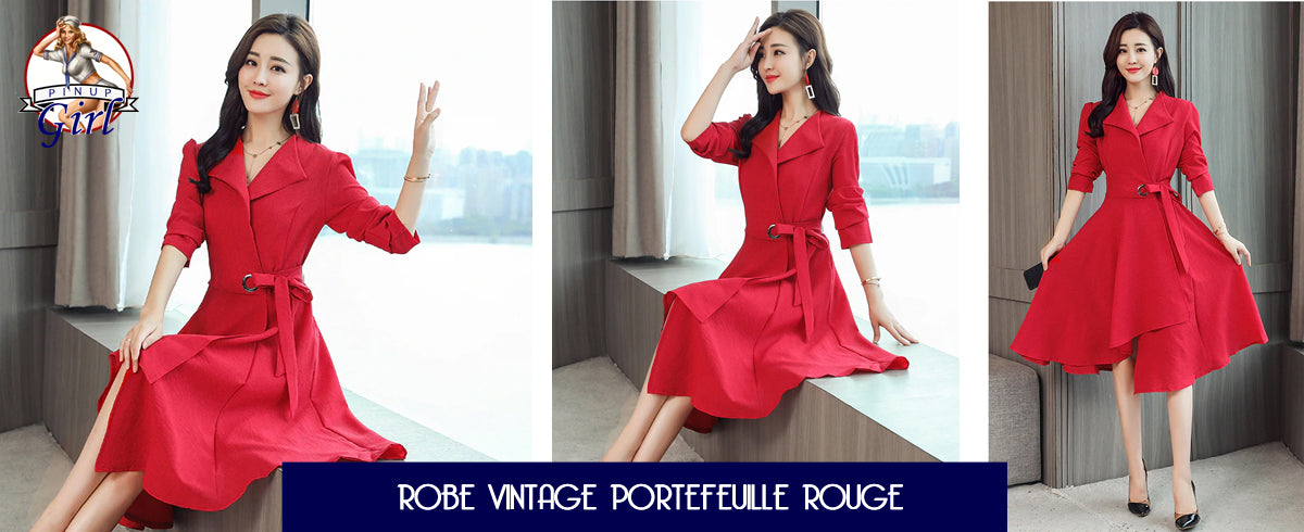 Robe Vintage Portefeuille Rouge Pin Up Girl à Manche Longues