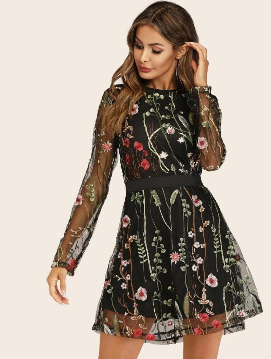 Women's Round Neck Floral Embroidered Mesh Long Sleeve Dress