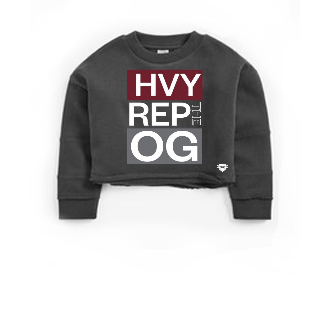 OG Flex Cropped Dark Heather Grey Sweatshirt