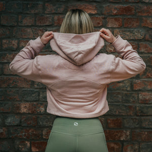 Flag Embossed Crop Hoodie in Dusky Pink