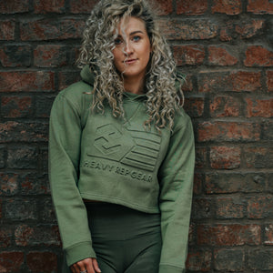 Flag Embossed Crop Hoodie in Olive