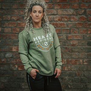 Heavy Rep Gear Athletics Crew Sweatshirt in Olive