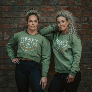 Heavy Rep Gear Athletics Crop Sweatshirt in Olive