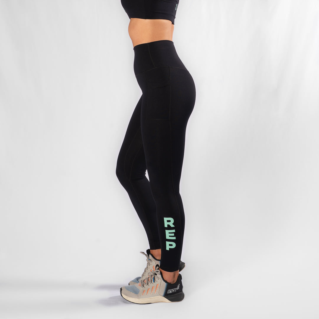 Nuluxe HVY REP Black / Neo Mint Leggings