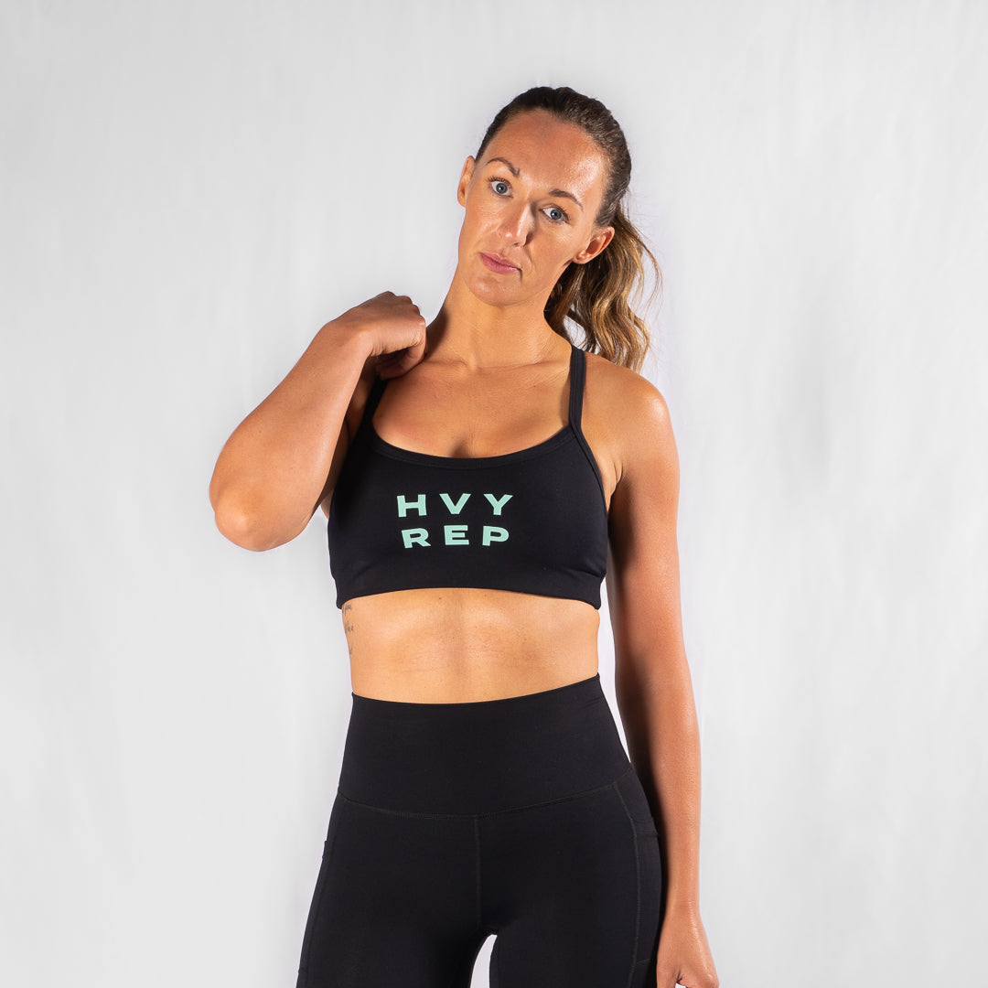 Energy HVY REP Black / Neo Mint Sports Bra