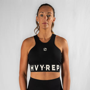 High Riser HVY REP Black / White Sports Bra