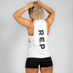 Team HVY REP White / Black Muscle Tank