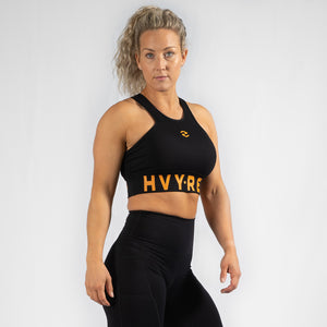 High Riser HVY REP Black / Mustard Sports Bra