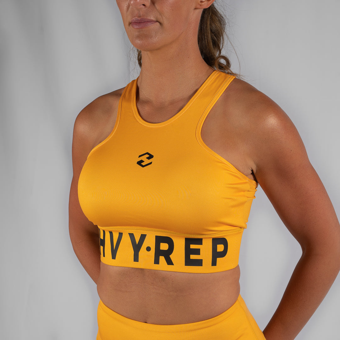 High Riser HVY REP Mustard / Black Sports Bra