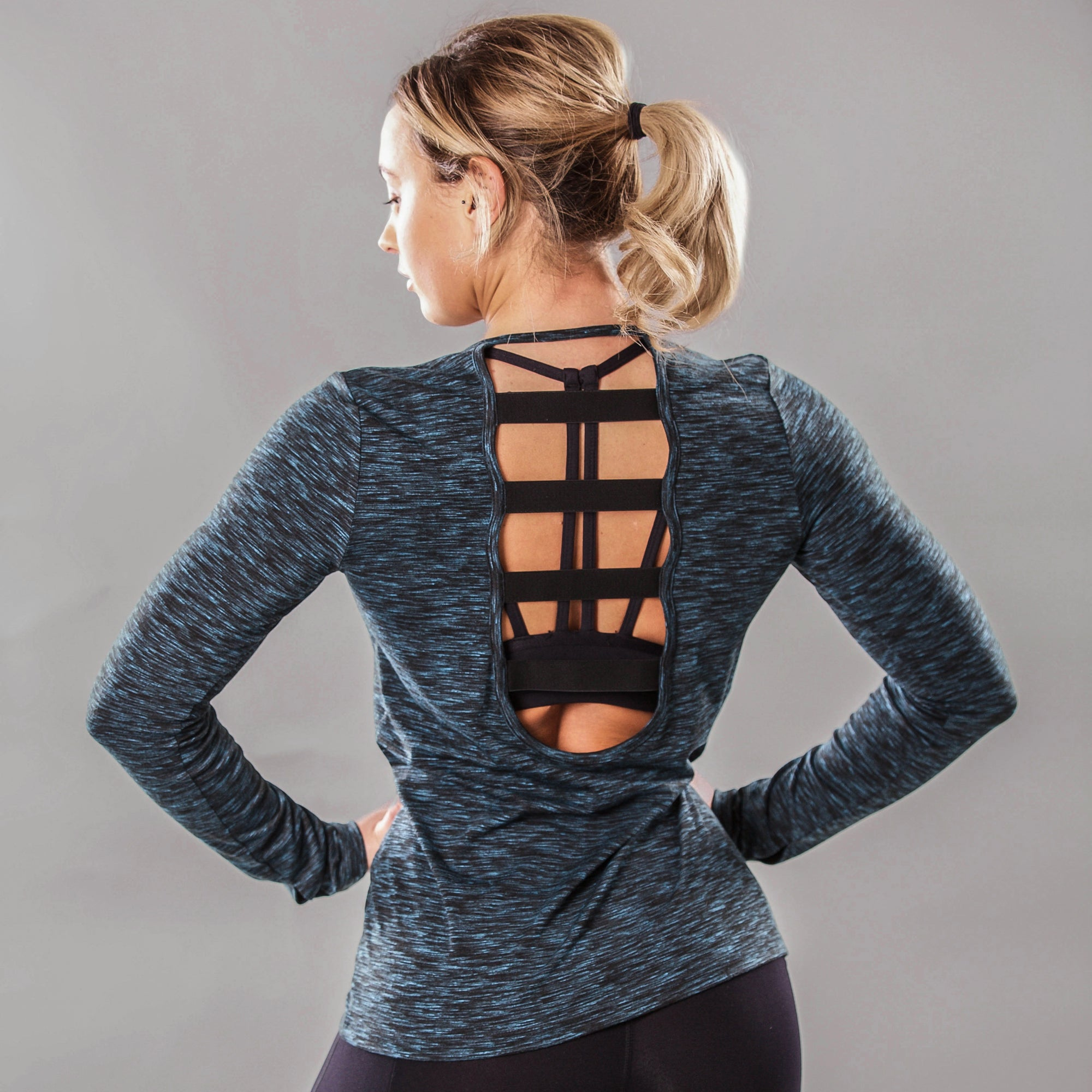 Solar Long Sleeve Top in Teal / Black