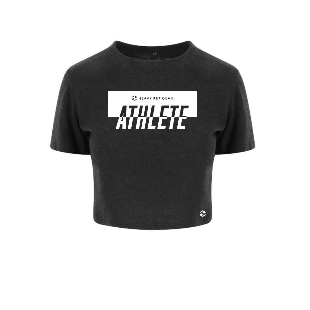 Athlete Active Tri Blend Heather Black Crop T-Shirt