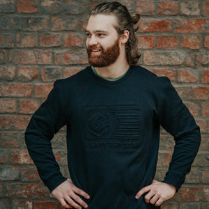 Flag Embossed Crew Sweatshirt in Black