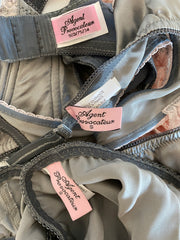 3 Pc Agent Provocateur Grey Pink French Set 34D