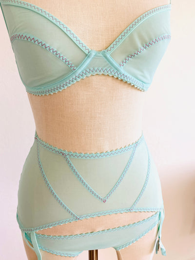 3 Pc Agent Provocateur Aqua Turquoise Blue W/ Red Stitching Set 34D Size Sm