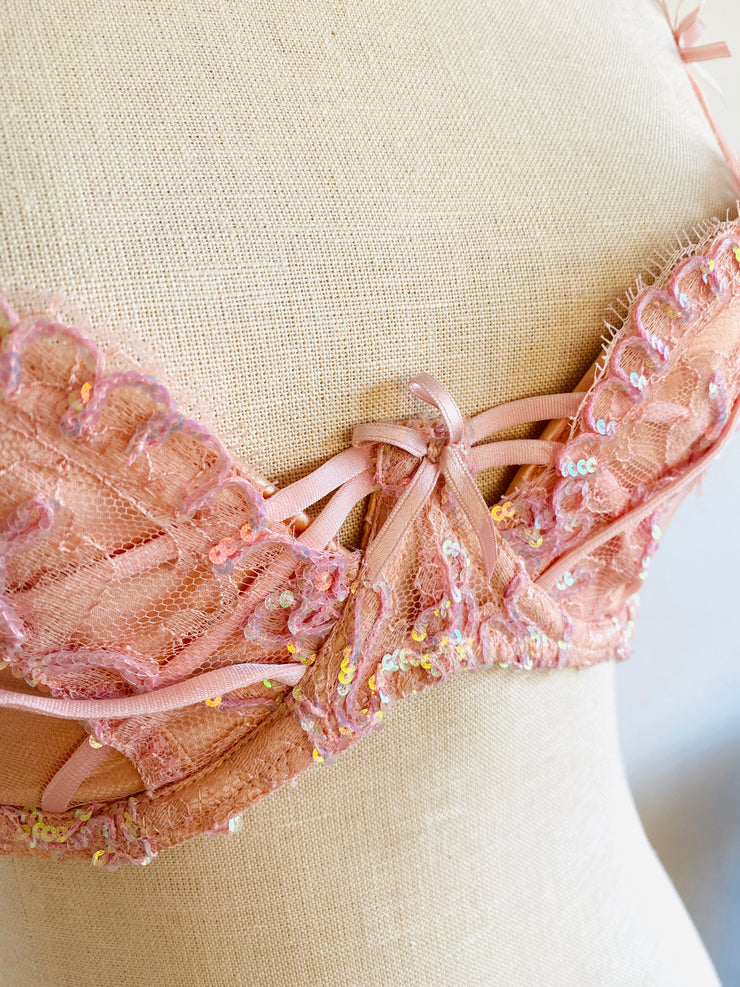 Soiree Agent Provocateur Darianna Pink Sequin Bra 32E