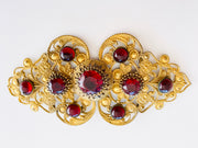 Czech Red Jeweled Cabochon Belt Buckle
