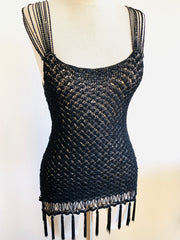 Knitted Black Flapper Top