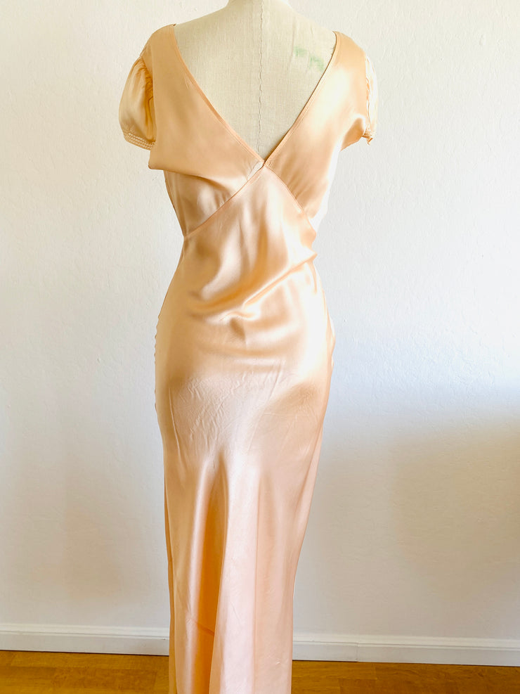 1940s Bias Cut Peach Satin Nightgown