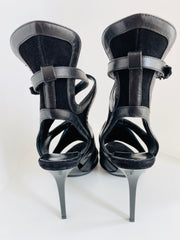 $1245 Black Leather Suede Ankle Wrap Heels