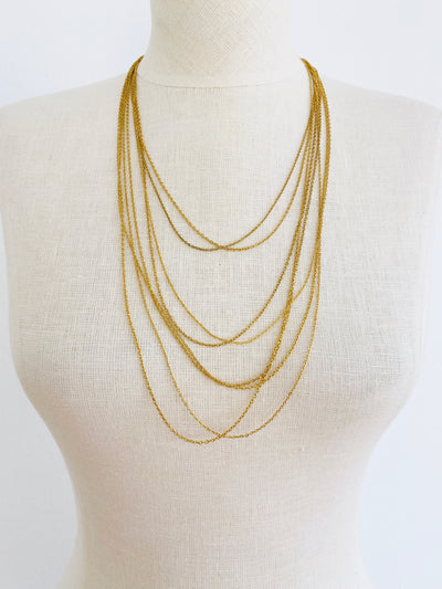 Gold Plated Multi Chain Layered Necklace