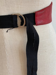 French Red Leather Flower Belt