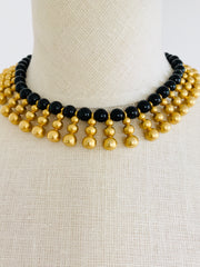 Heavy Black Gold Dangle Choker Bib Necklace