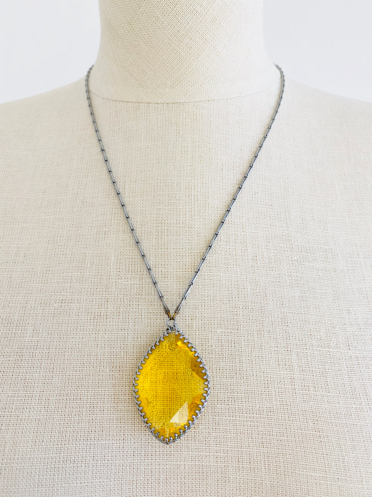 Czech Faceted Yellow Glass Jewel Necklace