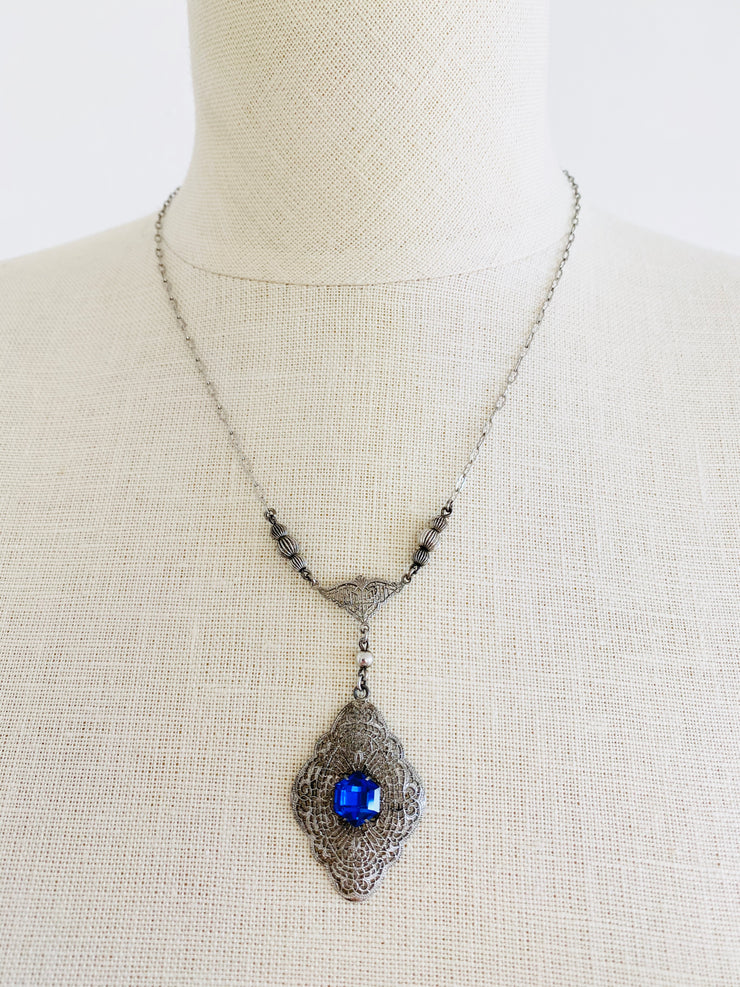 Czech Blue Lavalier Pendant Sterling Silver Filigree Necklace