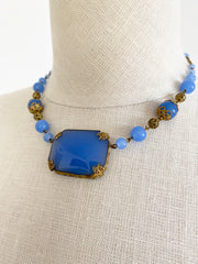Czech Blue Glass Pendant Necklace