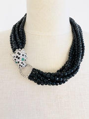 KJL Leopard Black Multi-Strand Choker Necklace