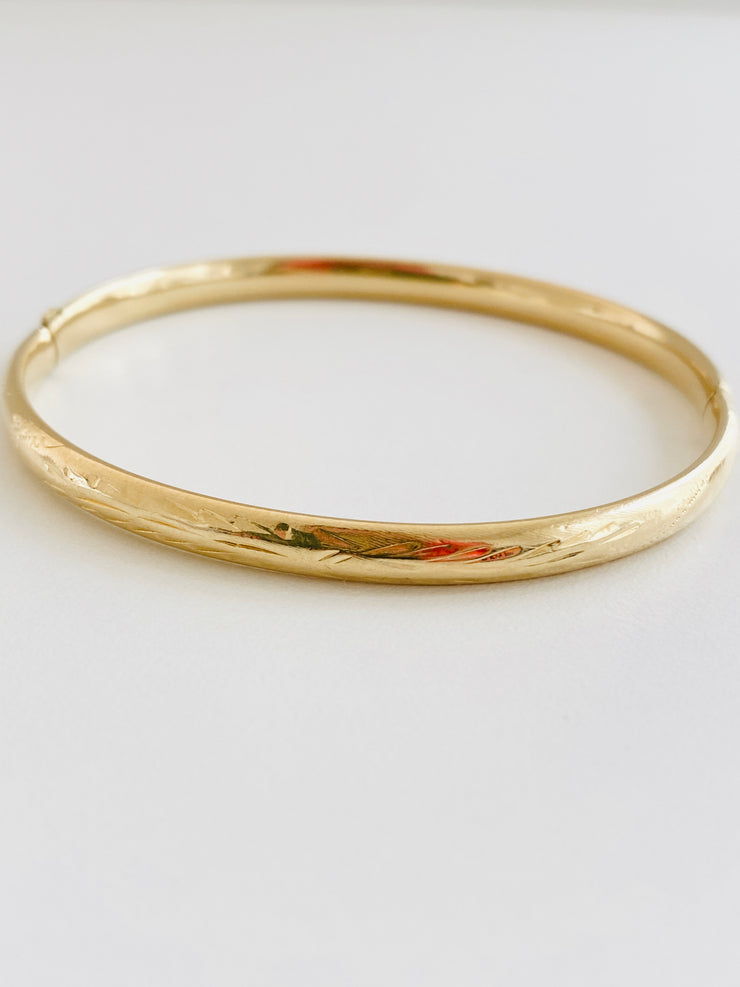 14k Etched Bangle Bracelet