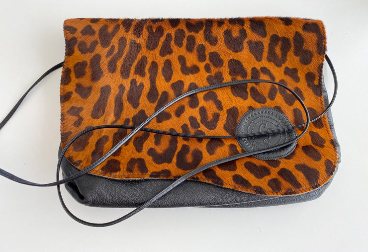 Pony Hair Leather Tiger Print Handbag