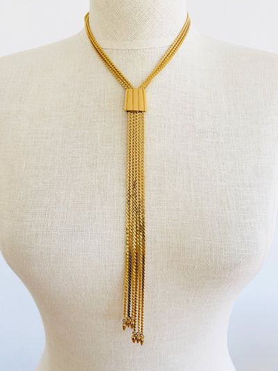 Gold Multi Chain Slider Choker Necklace