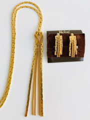 Gold Tassel Necklace Earring Set