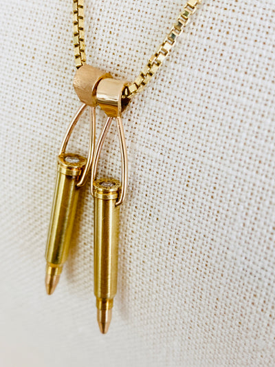 18K Diamond Bullet Pendants & 14k Box Chain Necklace