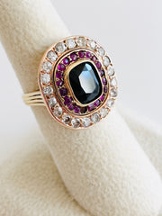 14K Old Mine Cut Diamonds, Sapphire, Rubies Yellow & Rose Gold Cocktail Ring