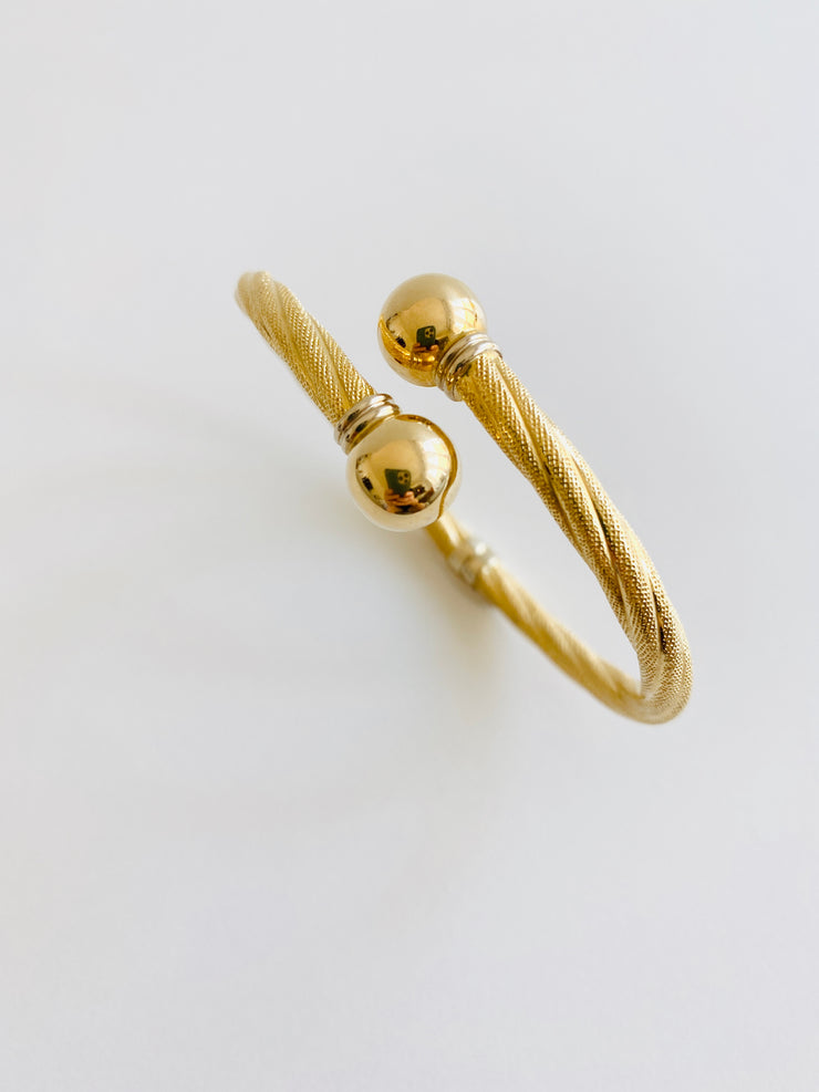 Italian 18k Bypass Hinged Bangle Bracelet