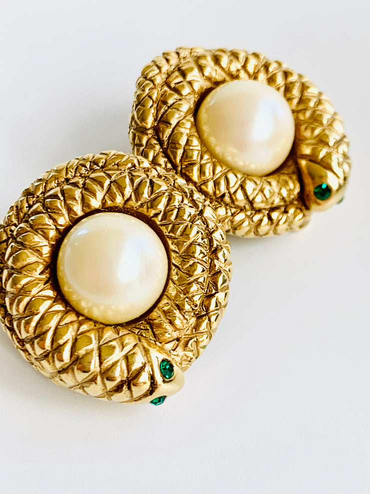 Erwin Pearl Coiled Snake Earrings