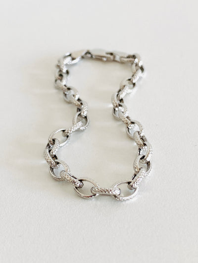 14k White Gold Cable Chain Bracelet