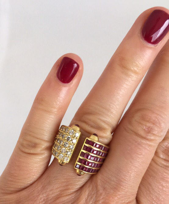 Ladies 18kt Gold Ruby Diamond Ring
