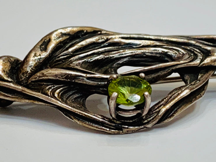 Erlin Modernist Peridot Sterling Silver Brooch