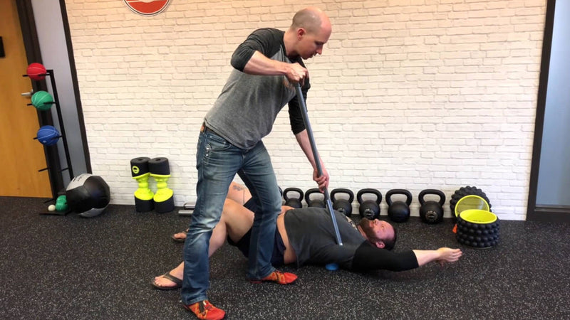 using the acumobility ball and boomstick and shoulderok to fix shoulder trigger points with Chris Duffin of Kabuki Strength