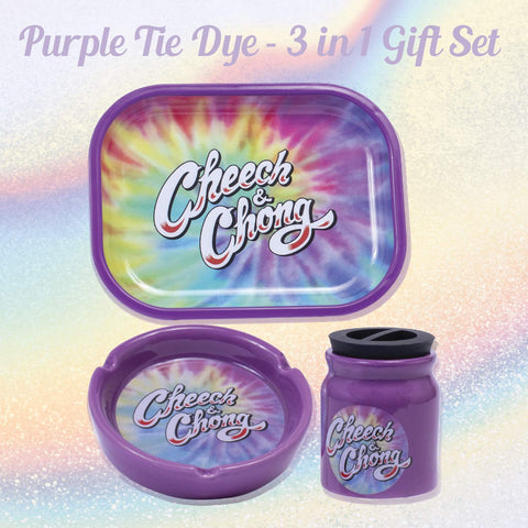 Cheech and Chong 3 in 1 Gift Set (Rolling Tray, Ceramic Ashtray, and Stash Storage Jar) - Smokers Hamper Gift Set Kit, Warming Gift Idea for Birthdays, Christmas – Purple Tie Dye (3oz Storage Jar)