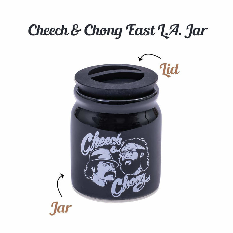 Cheech and Chong Ceramic Storage & Stash Jar for home and outdoor - | Storage Jars | Containers | Canisters - 3oz Stache Jar Design - White