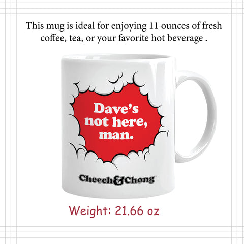 Cheech and Chong Dave's Coffee Mug - 50th Anniversary Special Edition Tea Mugs and Hot Chocolate, Beverages Mugs – Premium Quality Ceramic, Drinking Mug & Gift Box Set – 11 OZ Laughing Friends