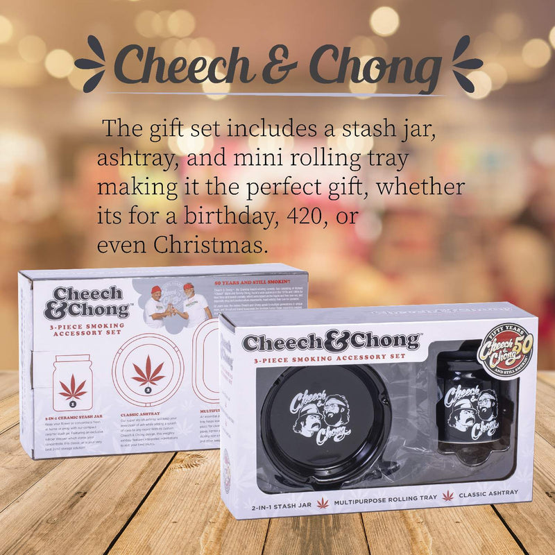 Cheech and Chong 3 in 1 Gift Set (Rolling Tray, Ceramic Ashtray, and Stash Storage Jar) - Smokers Hamper Gift Set Kit, Warming Gift Idea for Birthdays, Christmas – Black Tie Dye (3oz Storage Jar)