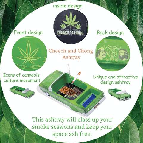 Cheech and Chong Special Edition 50th Anniversary Ashtrays – Design Pin Striped Lowrider, Leaves - Smoking Ash Tray Tabletop, Desktop for Indoor or Outdoor Use, Great Gift